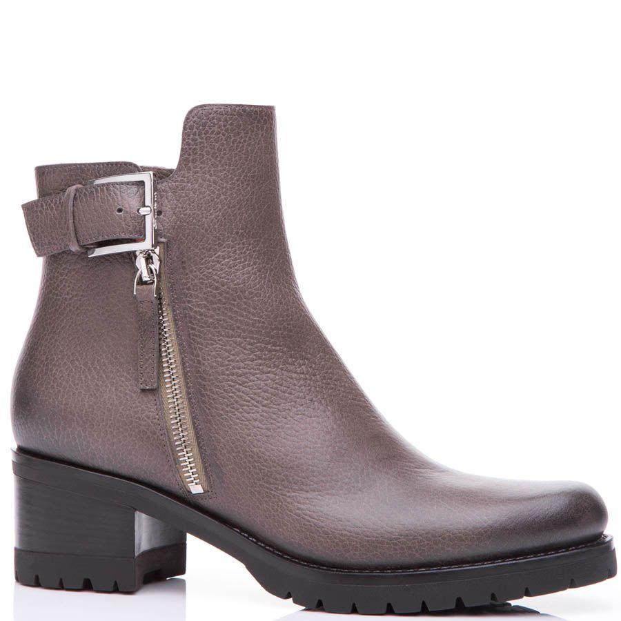 Ботинки Santoni серого цвета с двумя молниями и декоративной пряжкой