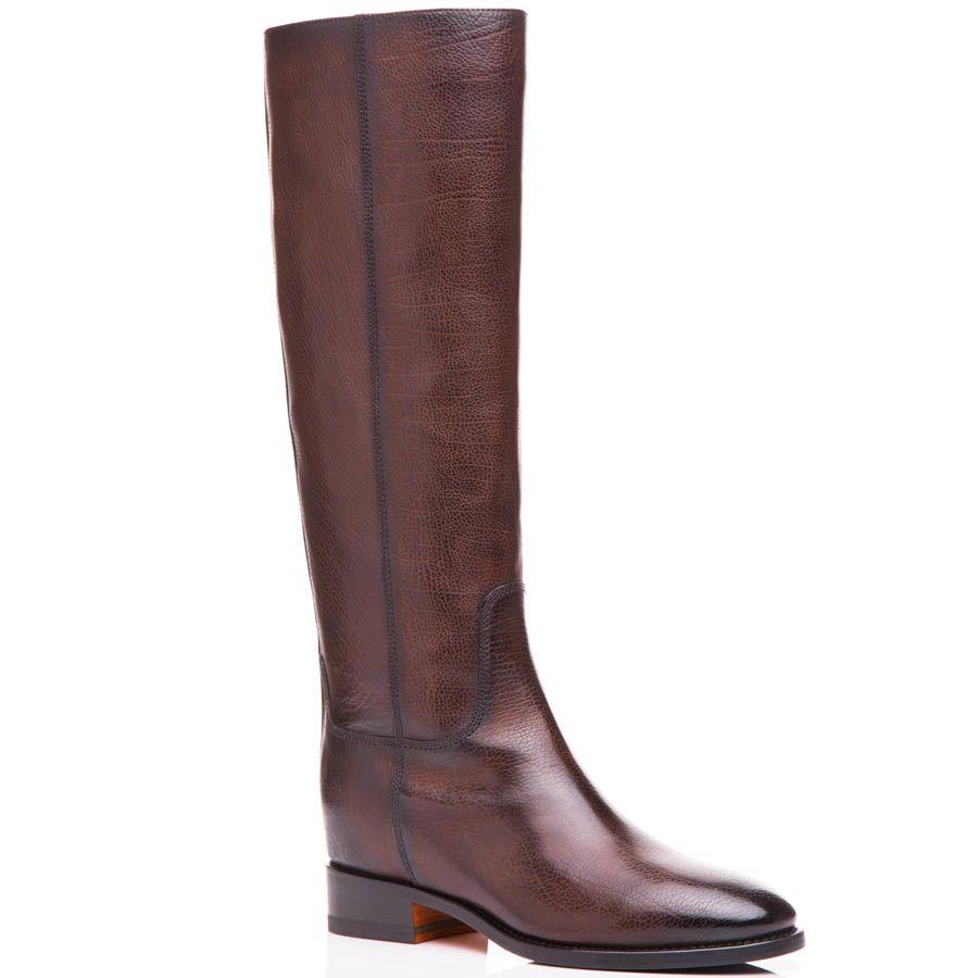 Сапоги Santoni осенние коричневого цвета из красивой фактурной кожи