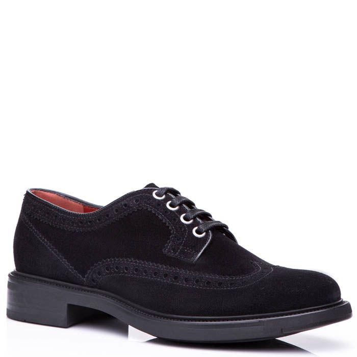 Туфли-оксфорды Santoni замшевые черного цвета с перфорированным узором на носке