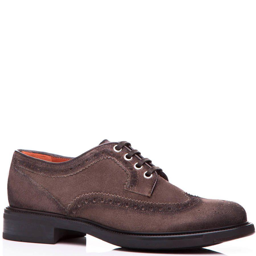 Туфли-броги Santoni коричневого цвета замшевые