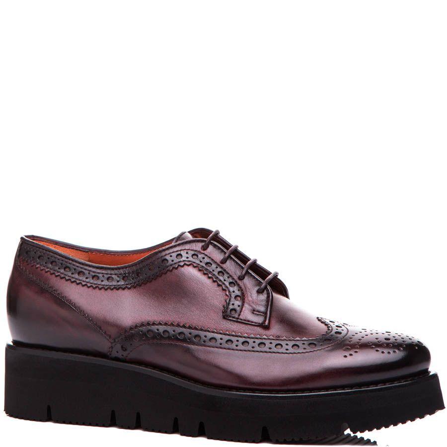Туфли Santoni бордового цвета с перфорацией