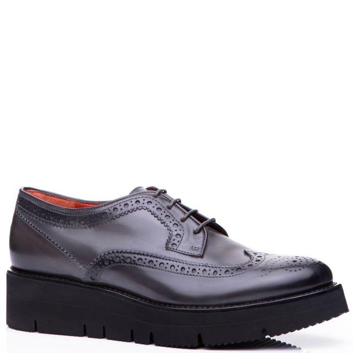 Туфли-броги Santoni серого цвета на небольшой платформе