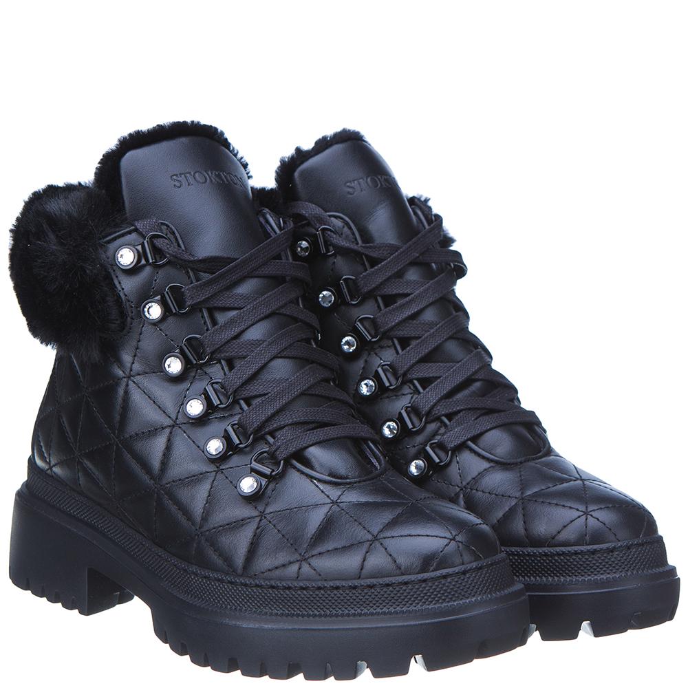 Черные стеганые ботинки Stokton на низком каблуке