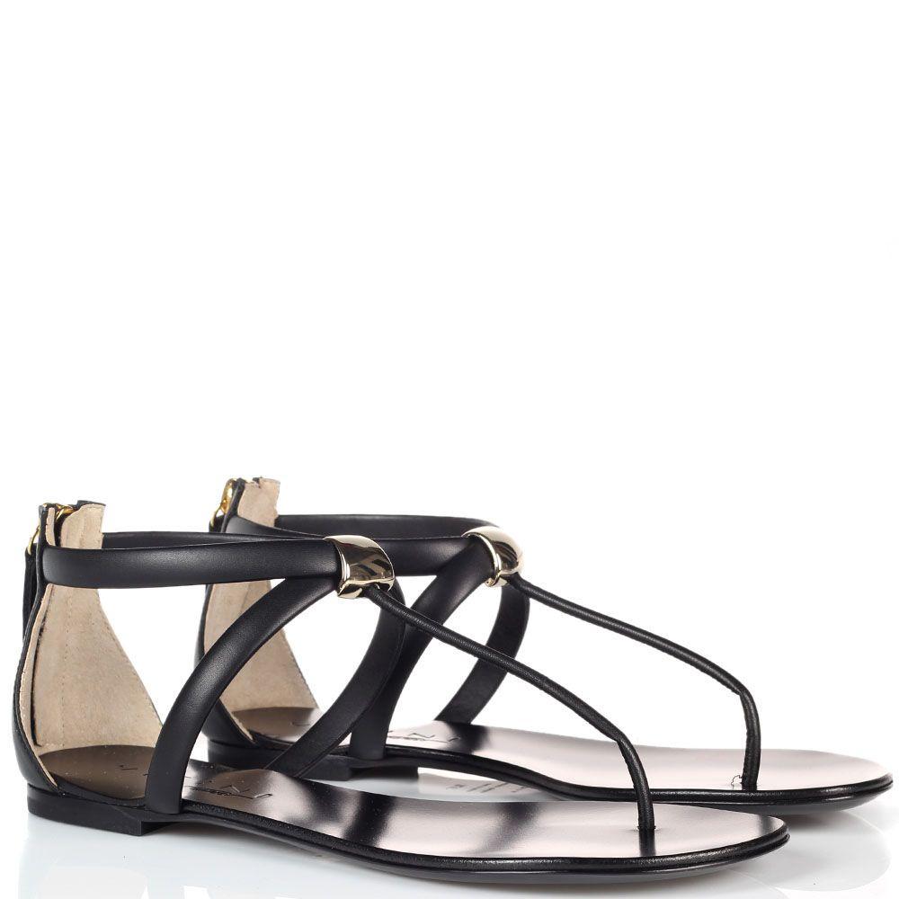 Черные кожаные сандалии Vicini с молнией на пяточке