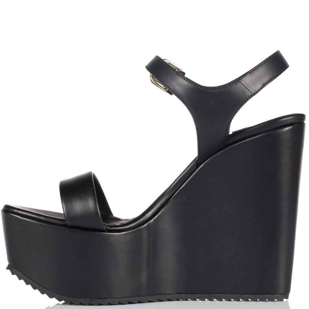 Кожаные черные босоножки Vicini на высокой платформе