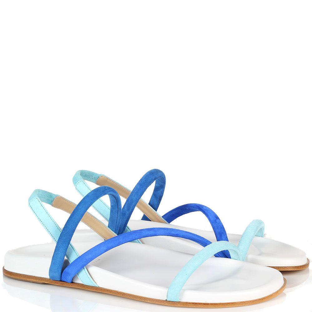 Замшевые босоножки голубого Vicini на плоской подошве