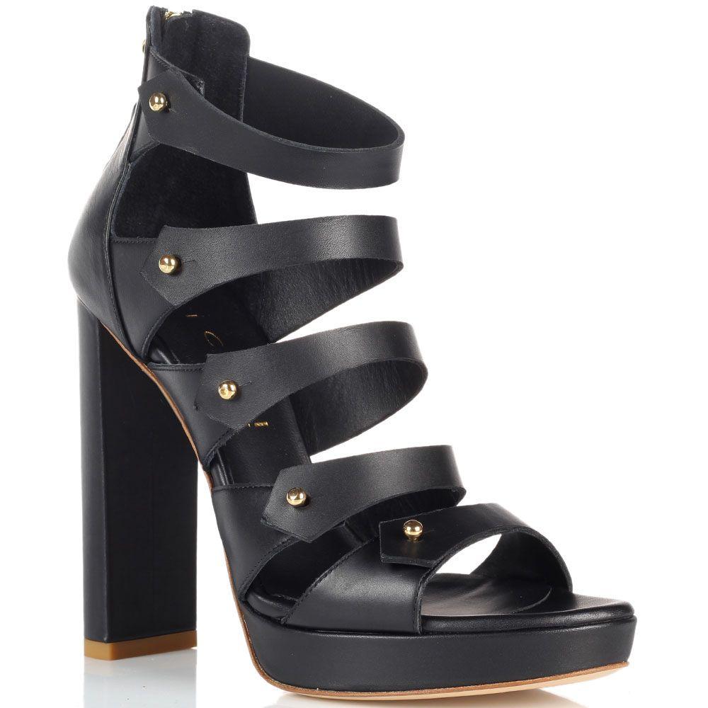 Босоножки на толстом каблуке Vicini из кожи черного цвета
