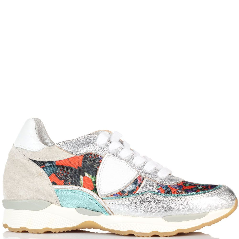 Кроссовки из кожи серебристого цвета с яркими текстильными вставками Philippe Model