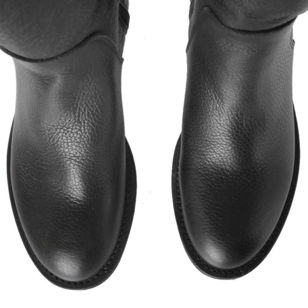 Сапоги Ovye черного цвета на плоском ходу из зернистой кожи