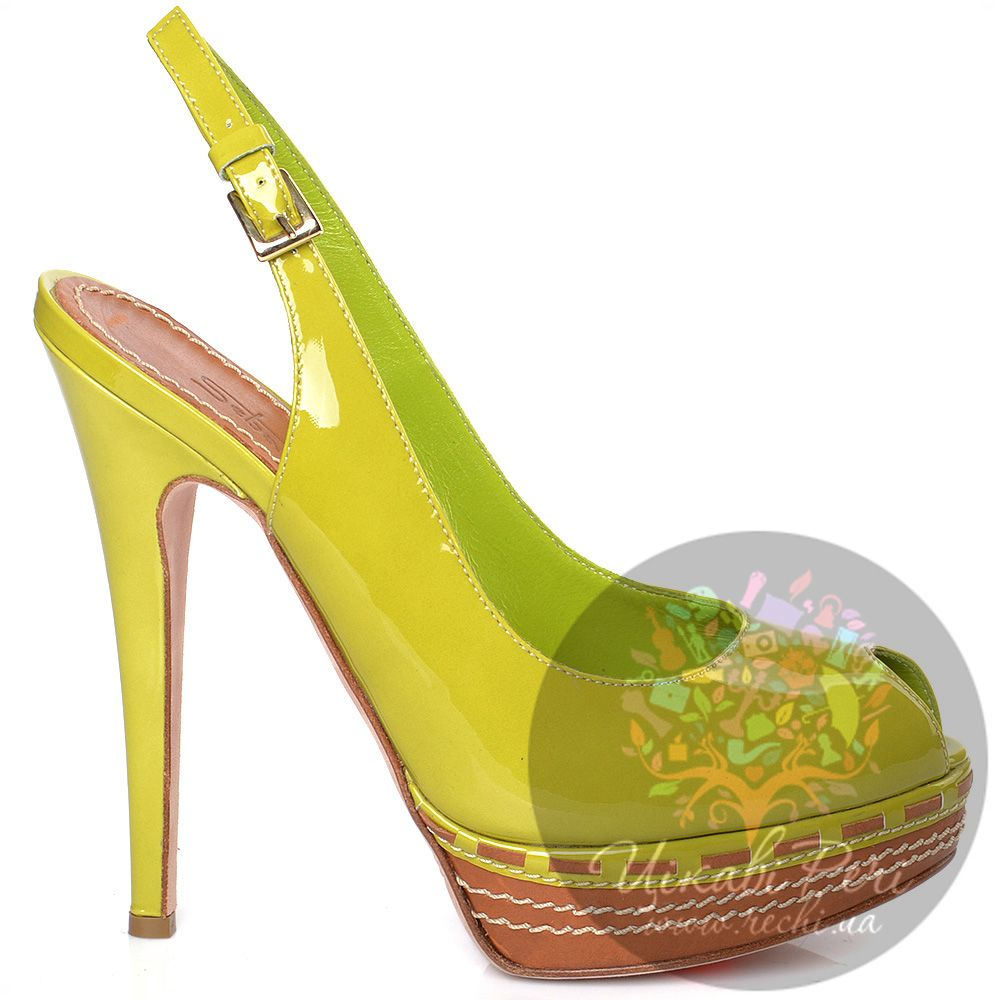 Босоножки Sebastian лимонно-зеленые кожаные лаковые