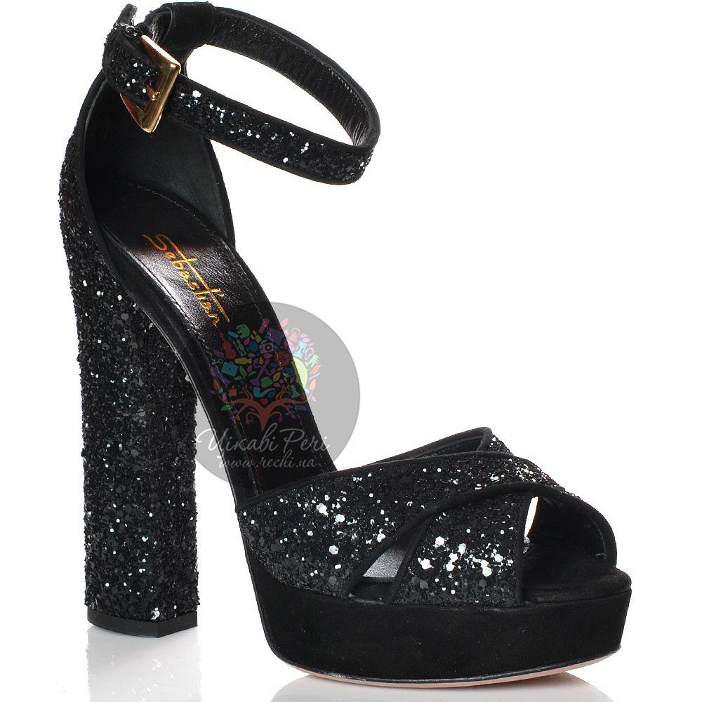Босоножки Sebastian на каблуке-столбике черные кожаные сияющие с обработкой, пайетками и стразами