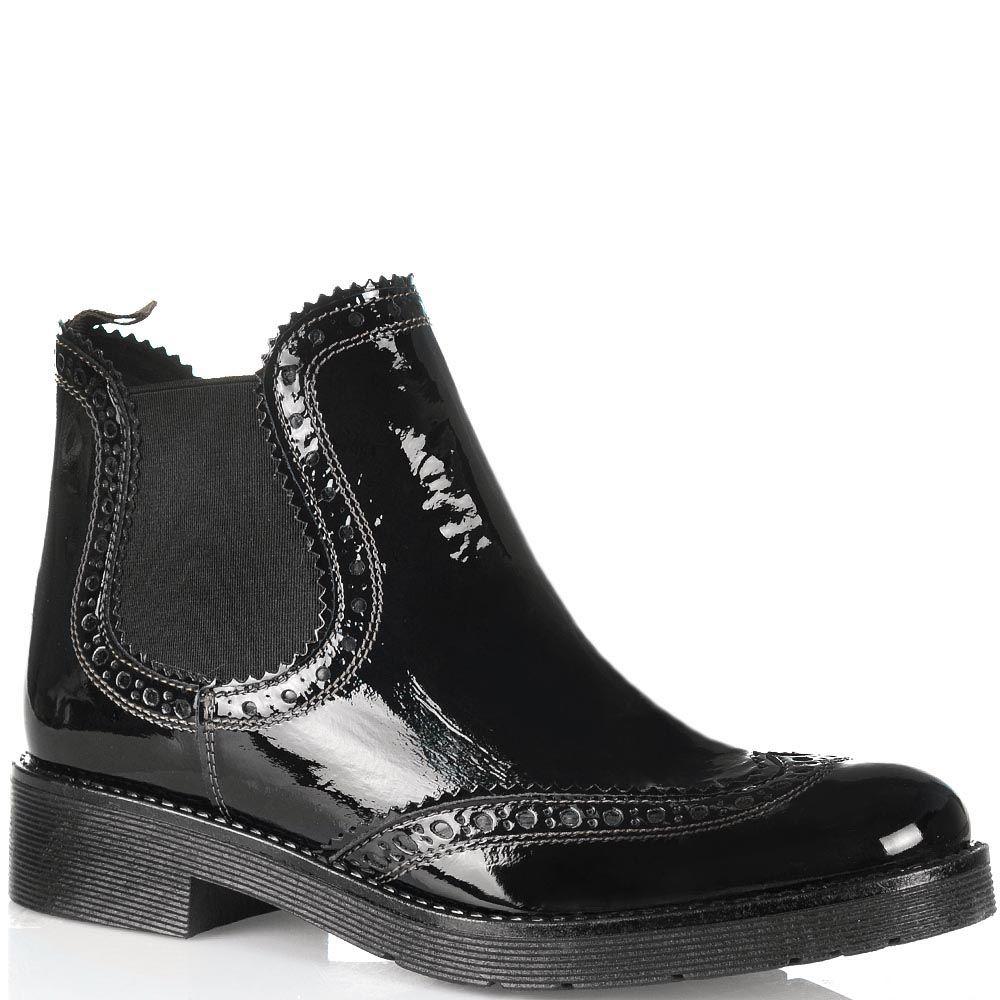 Черные высокие ботинки-челси Tosca Blu Cyprus кожаные лаковые