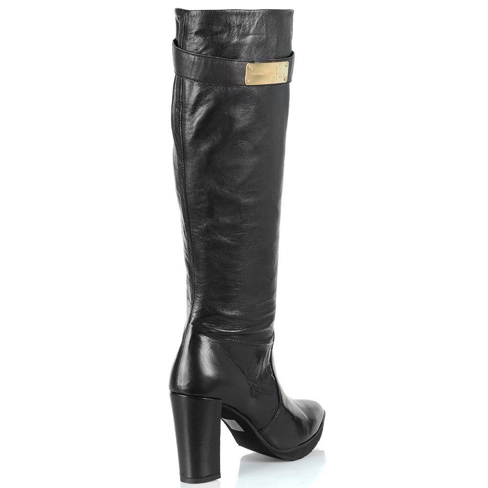 Черные кожаные сапоги Tosca Blu Nairobi на каблуке с зауженным носком
