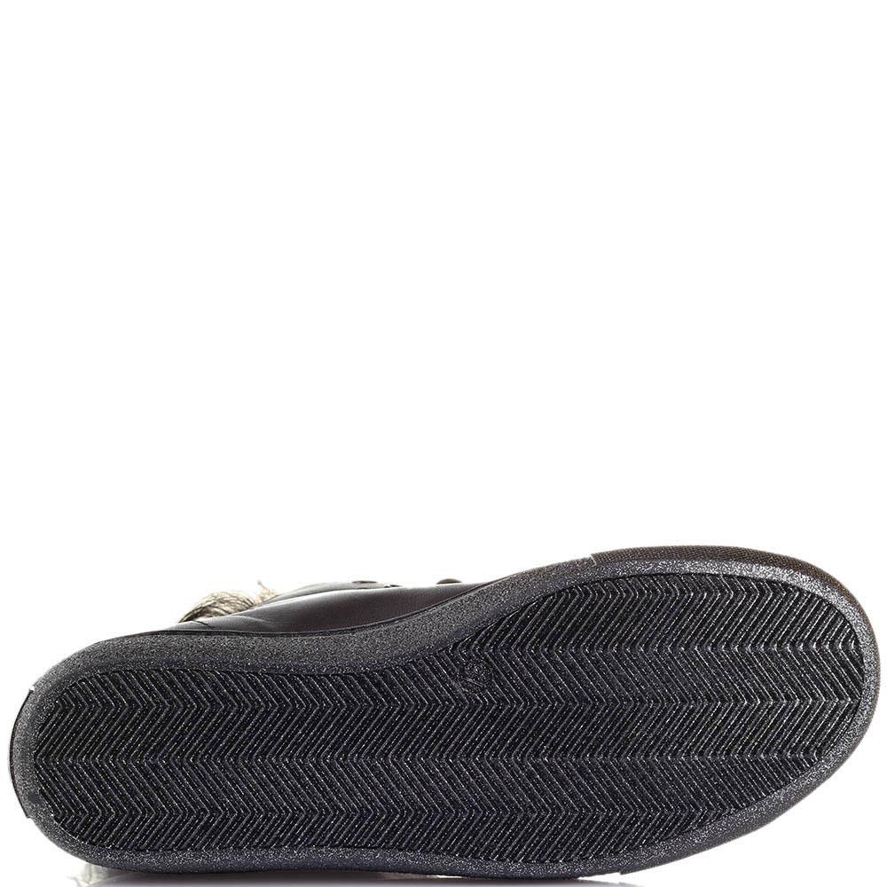 Кеды из кожи черного цвета Tosca Blu с меховой вставкой на язычке