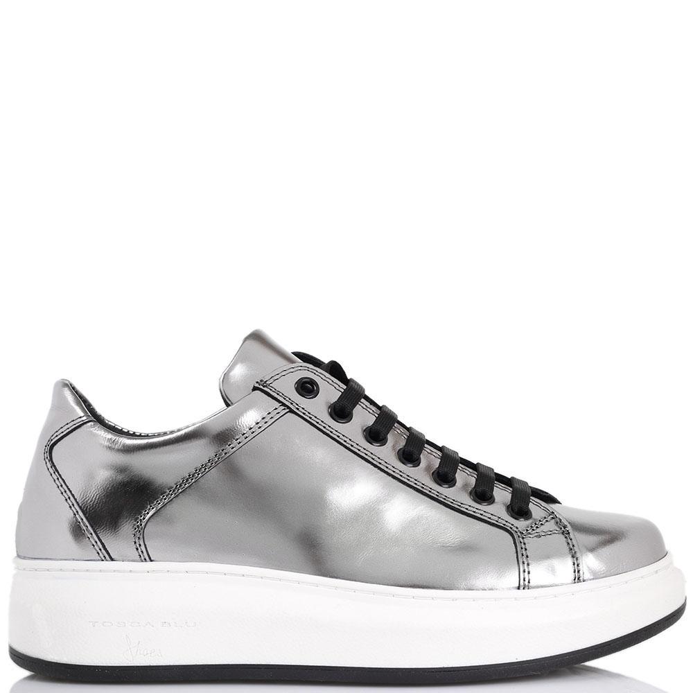 Серебристые кожаные кеды на шнуровке Tosca Blu на платформе