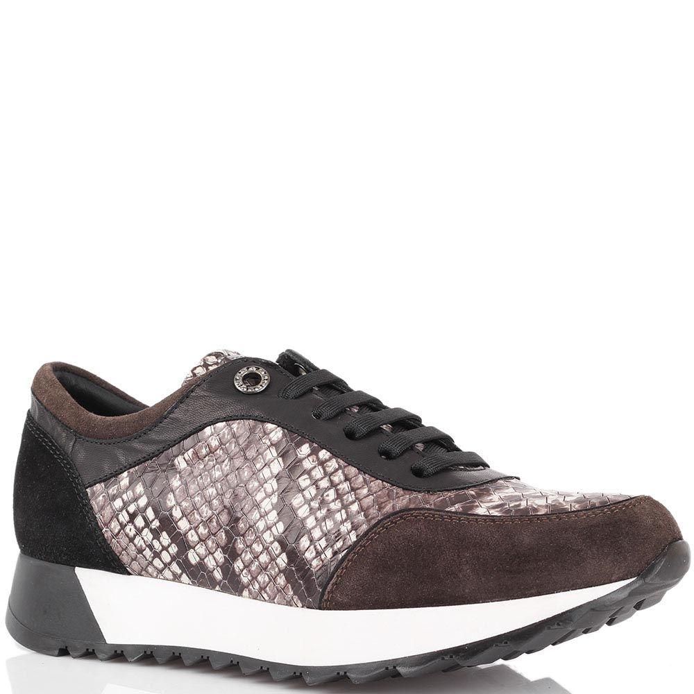 Кроссовки из тисненной под питона кожи Tosca Blu с замшевыми вставками коричневого цвета