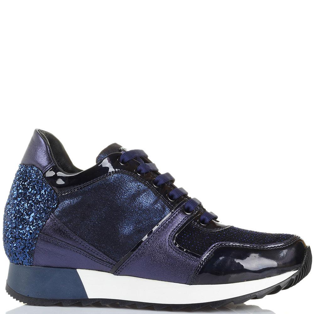 Высокие кроссовки Tosca Blu синего цвета декорированные глиттером