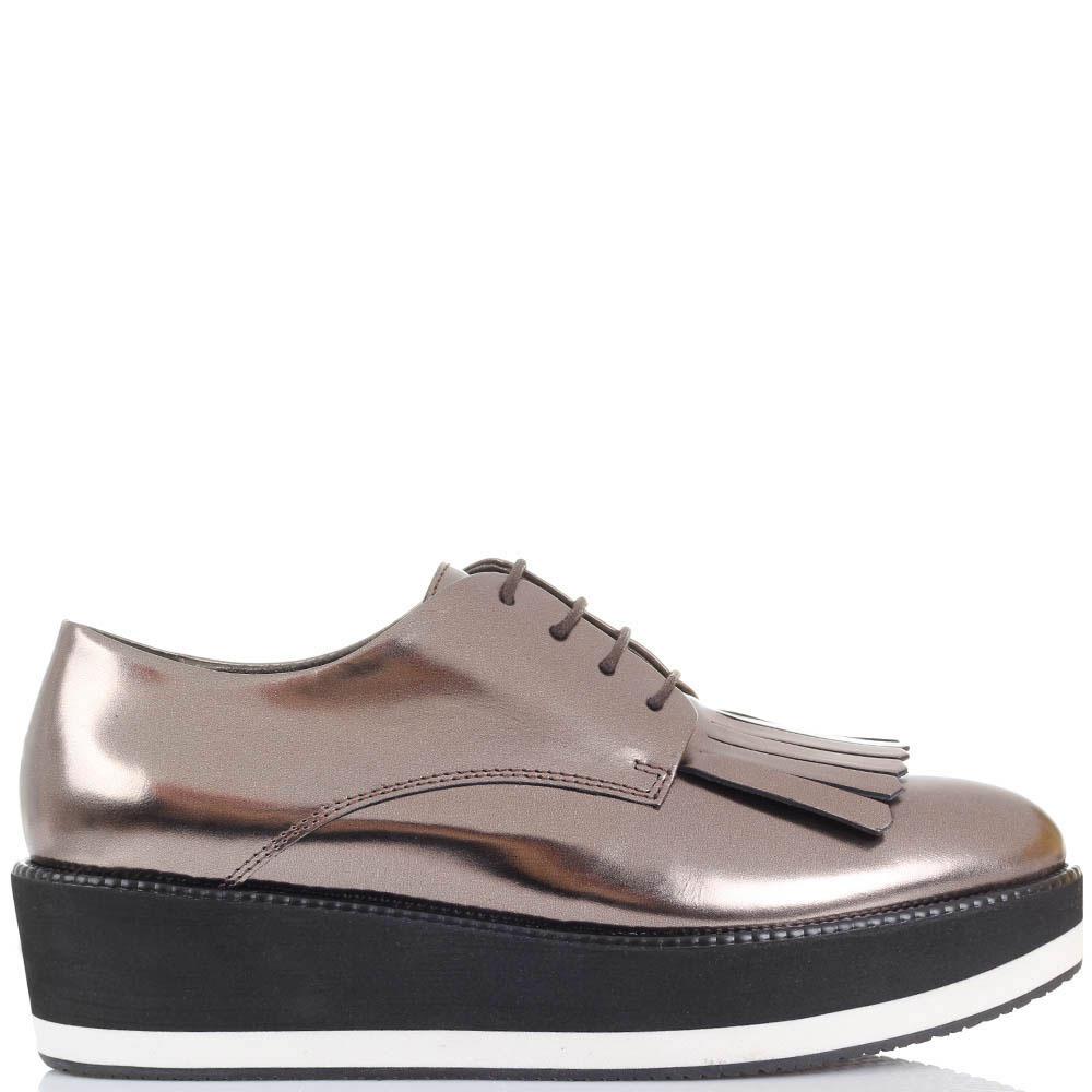 Туфли-лоферы из кожи коричневого цвета с металлическим блеском Tosca Blu на платформе