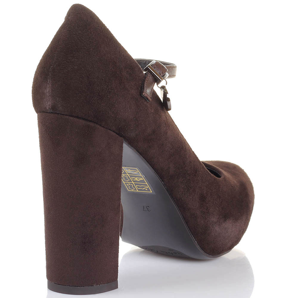Замшевые туфли коричневого цвета Tosca Blu на ремешке