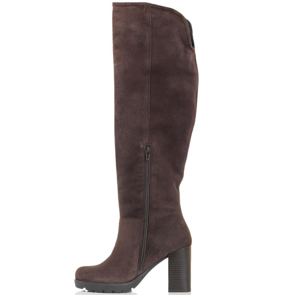 Высокие замшевые сапоги коричневого цвета Tosca Blu на рельефной подошве и толстом каблуке