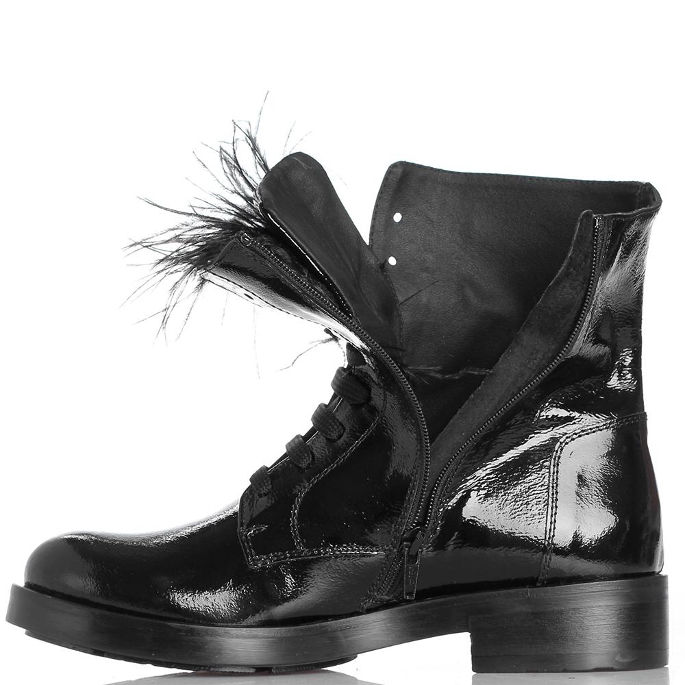 Черные ботинки Tosca Blu с декором из перьев