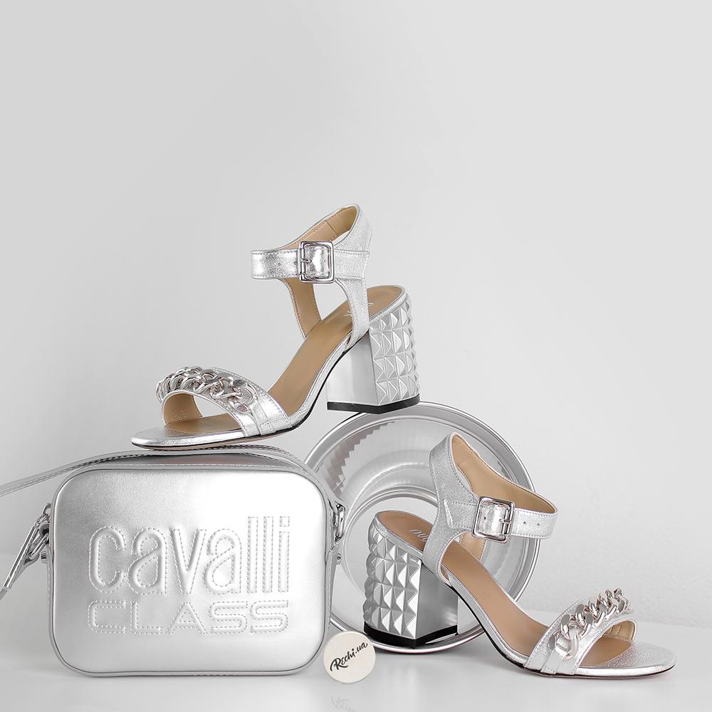 Серебряные босоножки Ovye by Cristina Lucchi с декором-цепочкой