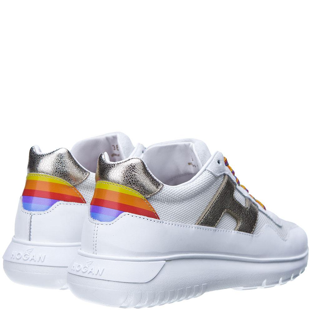 Белые кроссовки Hogan с цветными шнурками