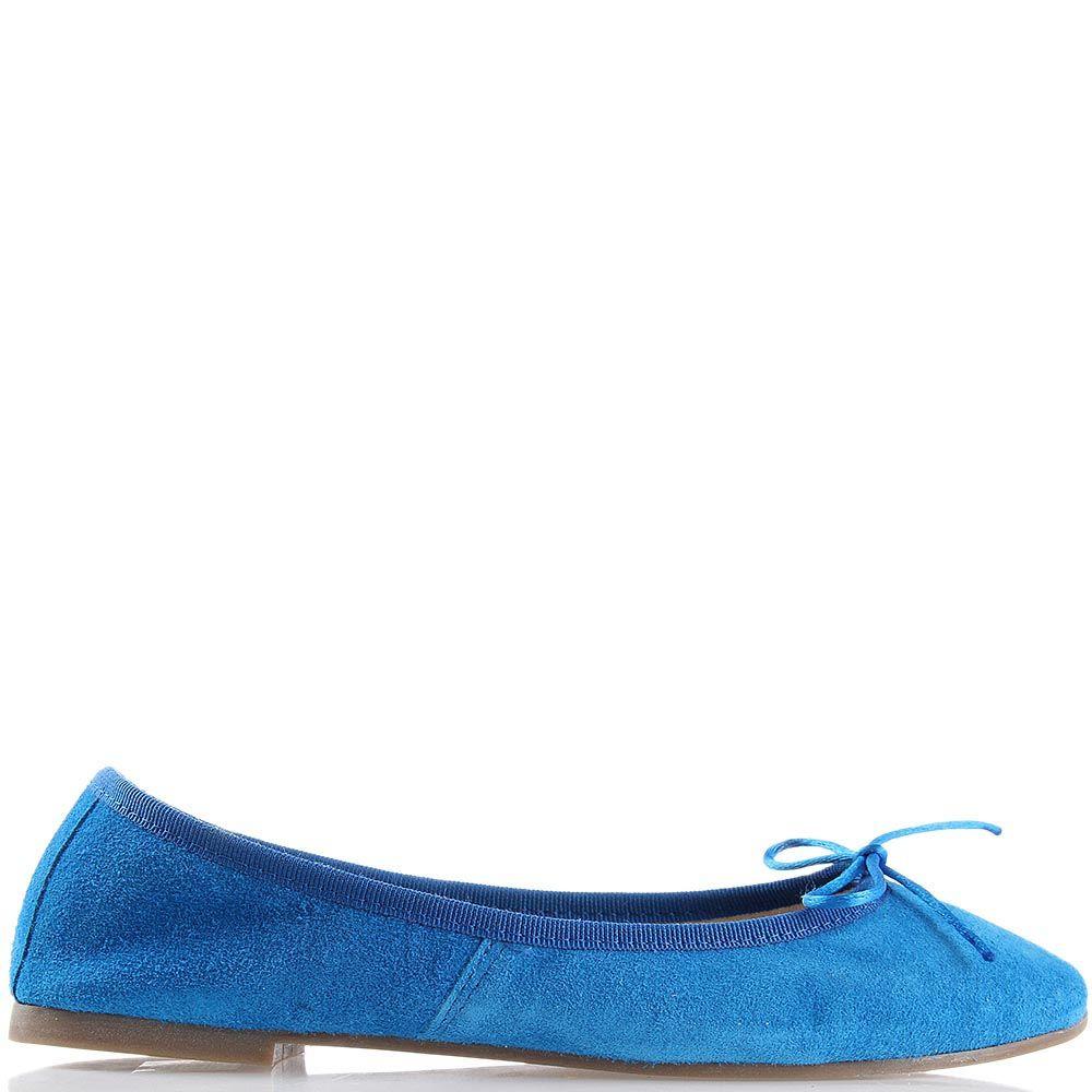 Балетки Ovye синего цвета замшевые с бантиком