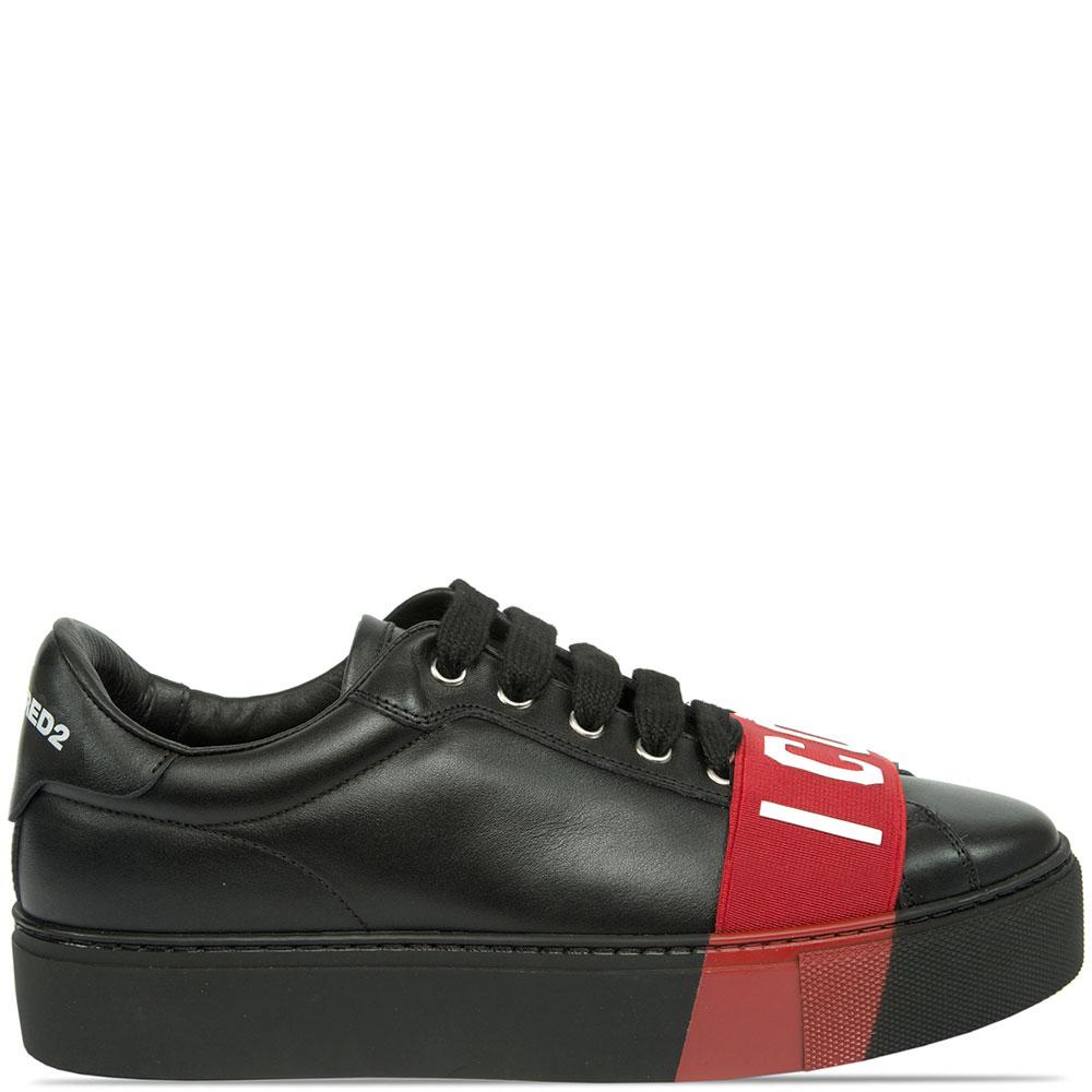 Черные кеды Dsquared2 с красным декором