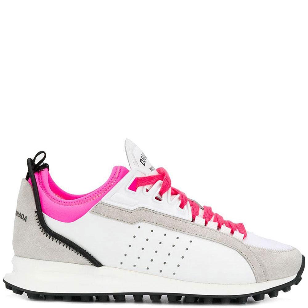 Белые кроссовки Dsquared2 на яркой шнуровке