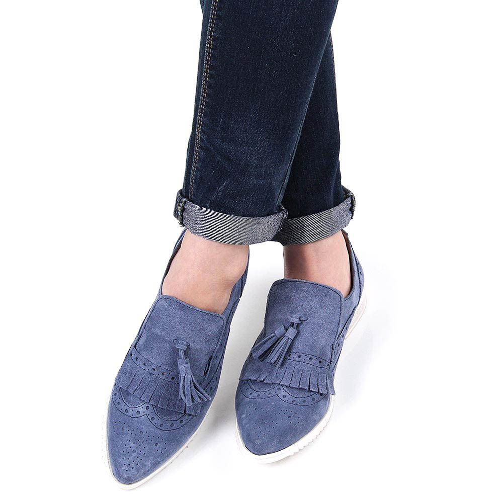 Лоферы Ovye женские замшевые сине-голубого цвета с кисточками