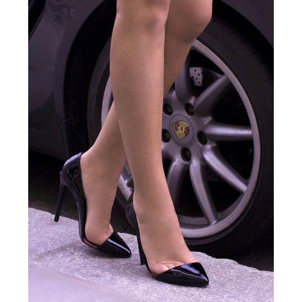 Туфли-лодочки Kandee лаковые черного цвета с блестящей красной подошвой