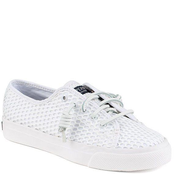 Текстильные кеды Sperry белого цвета на шнуровке