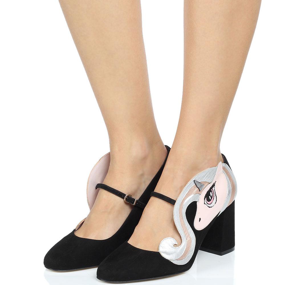 Замшевые туфли черного цвета Minna Parikka Sparks с аппликацией в виде единорога