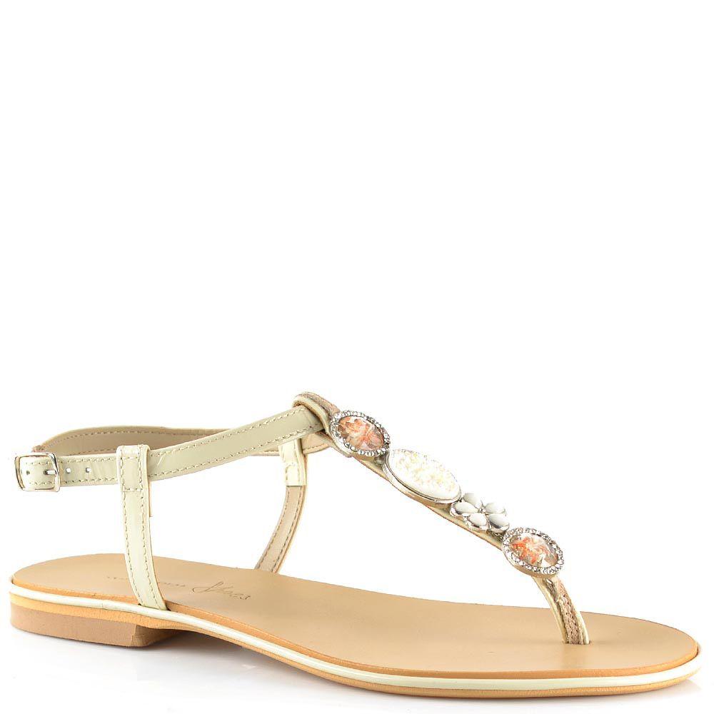 Кожаные сандалии Tosca Blu открытые кремовые со стразами и стеклярусом
