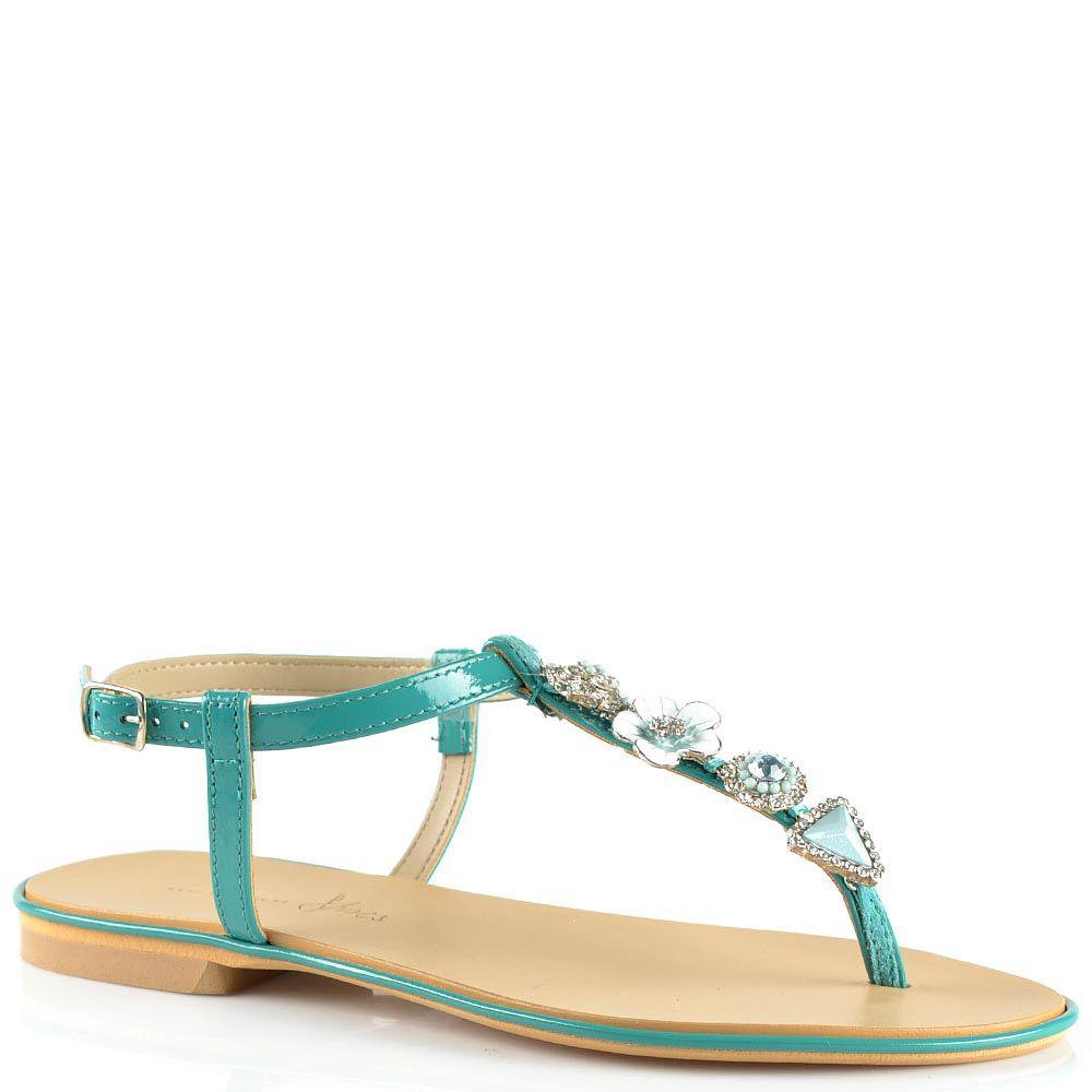 Кожаные сандалии Tosca Blu зеленые открытые со стразами и цветком