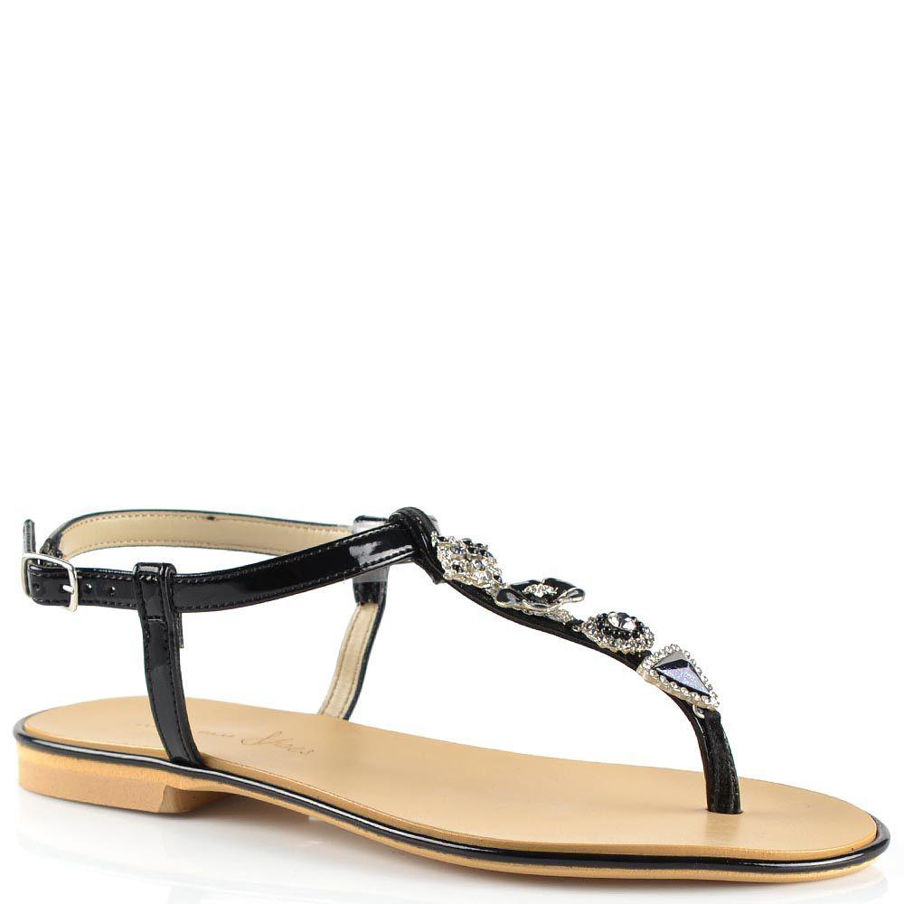 Черные сандалии Tosca Blu кожаные лаковые открытые с красивым декором