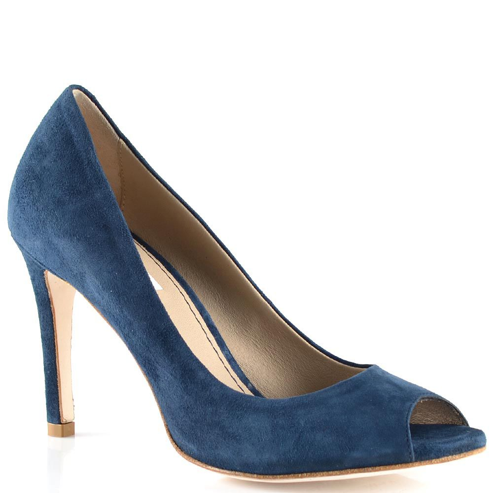 Туфли Tosca Blu с открытым носком замшевые темно-синие на средней шпильке