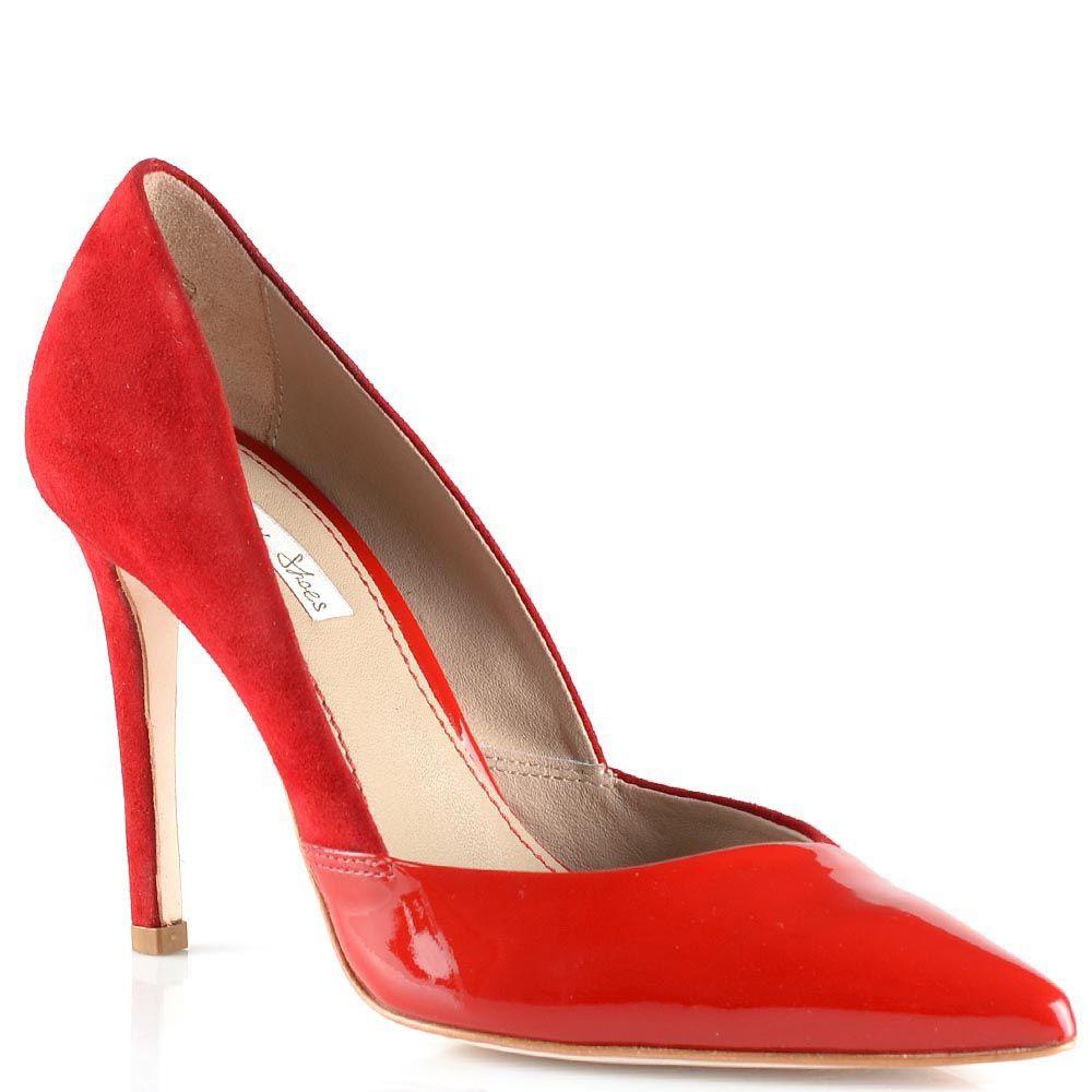 Красные туфли на шпильке Tosca Blu из замши и лаковой кожи с красивым вырезом