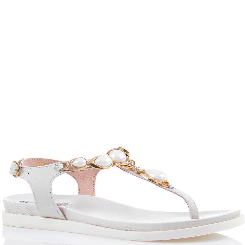 Сандалии Tosca Blu белого цвета с золотым декором