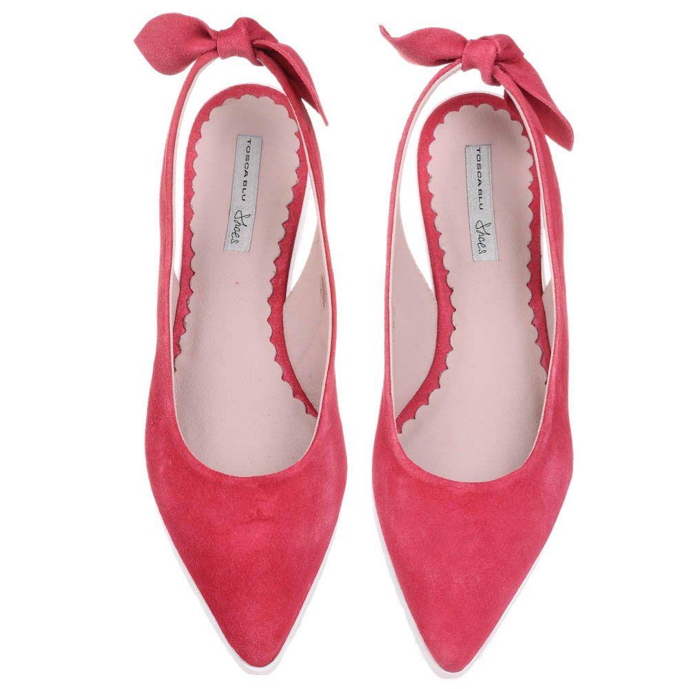 Замшевые туфли Tosca Blu приглушенно-красного цвет с острым носиком и открытой пяточкой