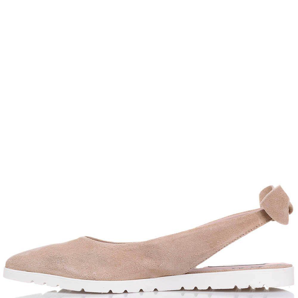 Туфли Tosca Blu из замши песочного цвета с открытой пяточкой
