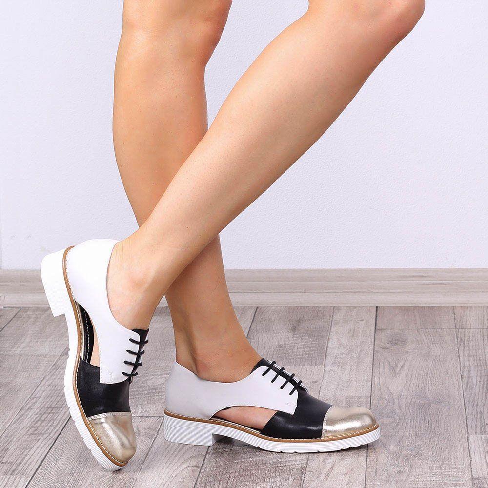 Трехцветные туфли-оксфорды Tosca Blu открытые по бокам
