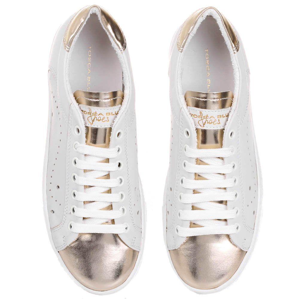 Кожаные кеды Tosca Blu белого цвета с золотистым носочком