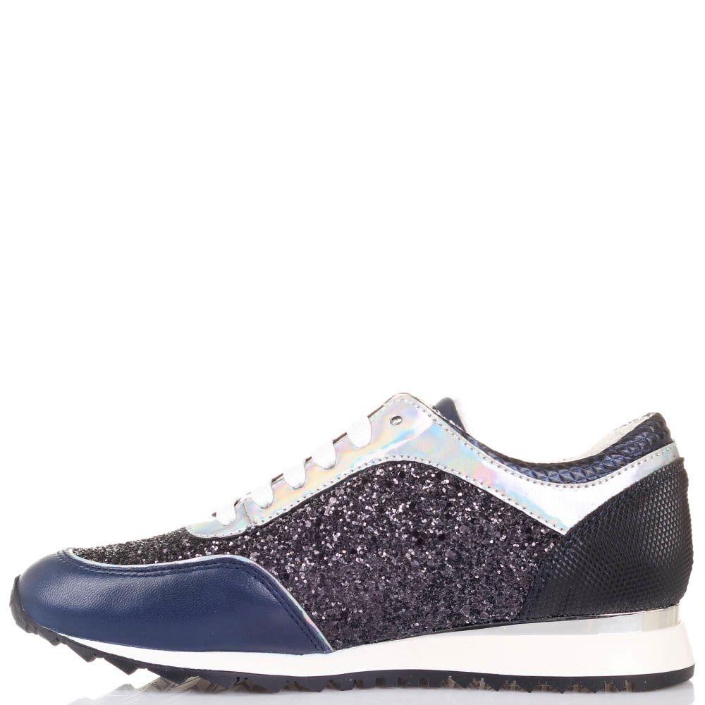 Кроссовки Tosca Blu синего цвета со вставками из черного и серебристого глиттера