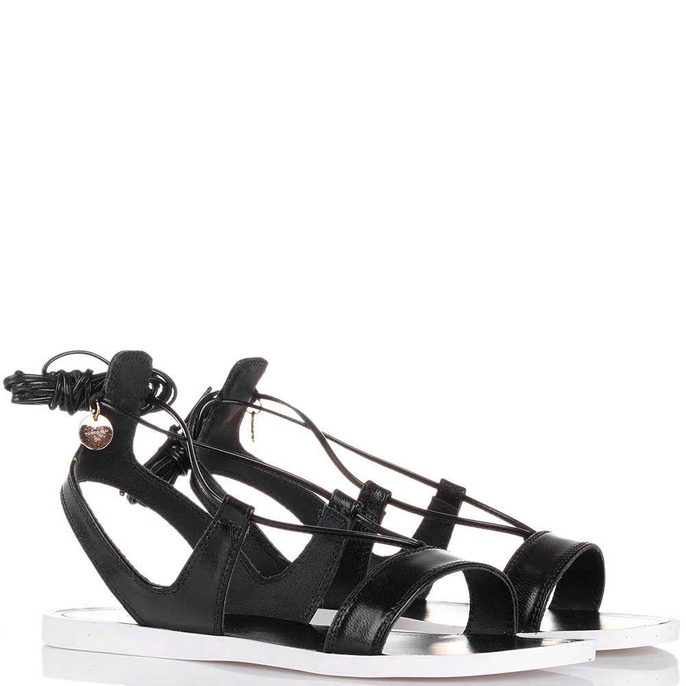 Кожаные сандалии Tosca Blu черного цвета на высокой шнуровке