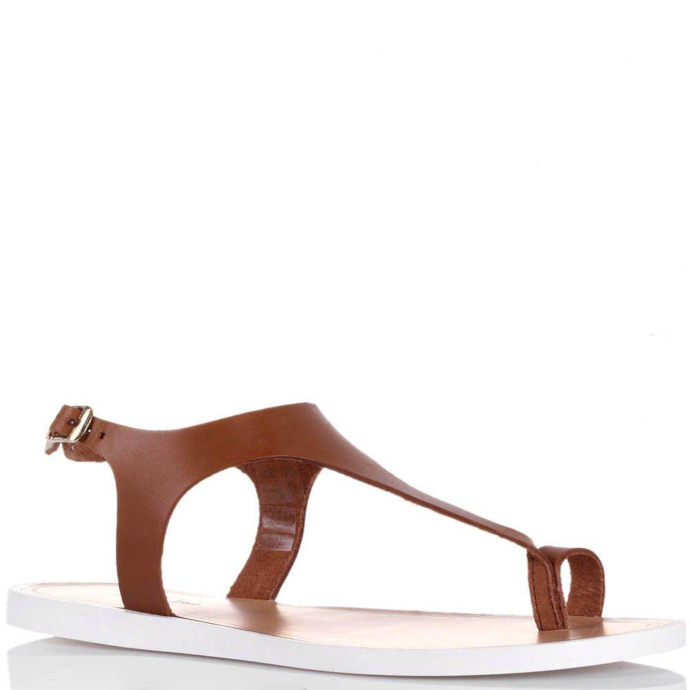Сандалии Tosca Blu коньячного цвета на низком ходу