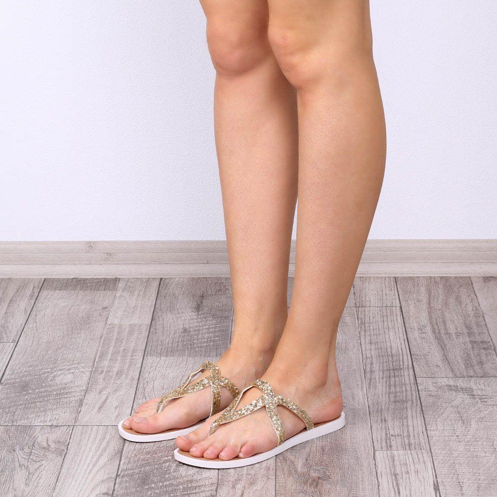 Женские сланцы Tosca Blu из кожи с золотистым глиттером