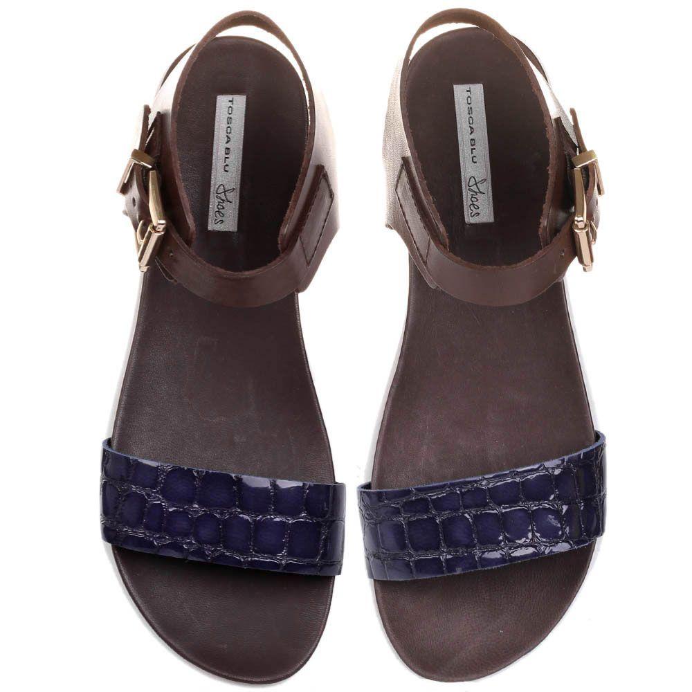 Женские сандалии Tosca Blu из коричневой и темно-синей кожи с имитацией кожи рептилии