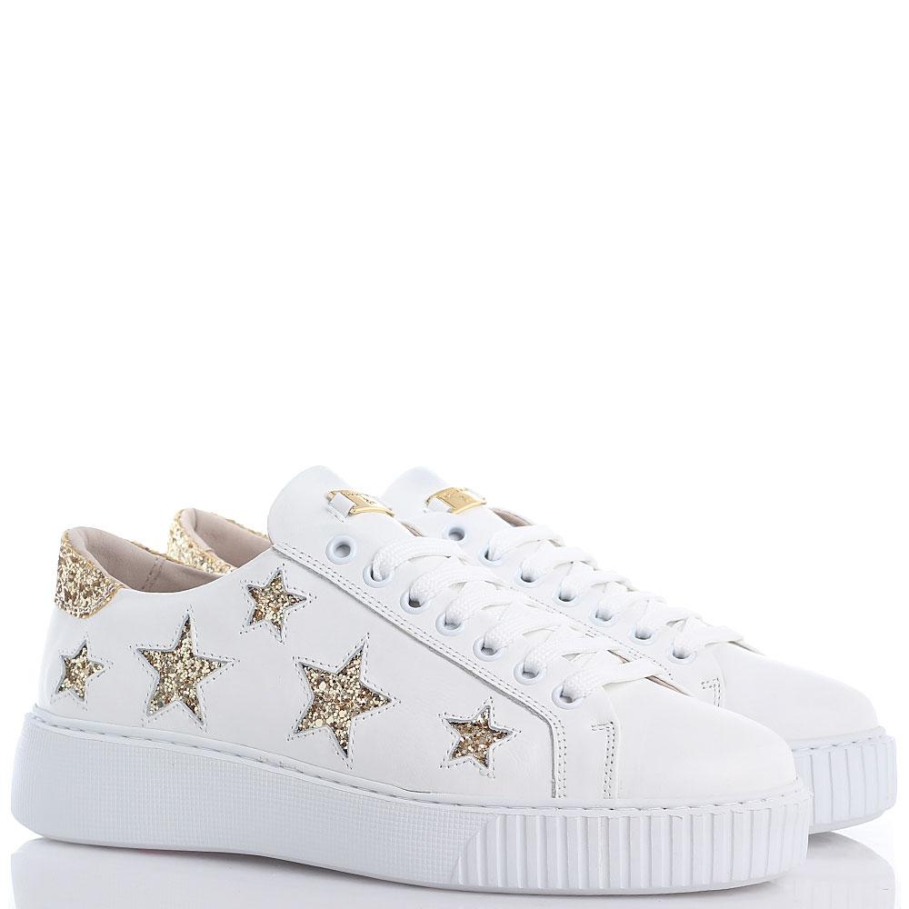Белые кеды Tosca Blu с золотистыми звездочками